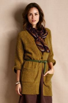 Women's Slouchy V-Neck Cardigan from Lands' End Canvas