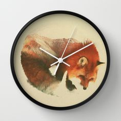 BUY: http://society6.com/product/snow-fox-sg4_wall-clock?curator=4thecrime  Snow Fox