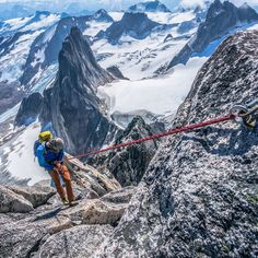 """""The Summit Is Just A Halfway Point""- Ed Viesturs- Looking down the Kain Route on Bugaboo Spire after we climbed the NE Ridge. I cant't wait to get back…"""