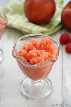 Raspberry Peach Granita - substitute artificial sweetener for the simple syrup and serve right after blending