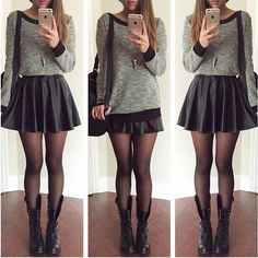 Pleather Skater Skirt from Color of Aurora
