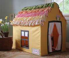 Christmas Present Ideas For Girls Posh Play House On Etsy - Pvc Playhouse, Card Table Playhouse, Diy For Kids, Gifts For Kids, House Tent, Kids Tents, Gold Spray Paint, Pvc Pipe, Table Cards