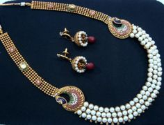 Royal Peacock Style Pearl Gold Tone CZ Long Ranihaar Necklace Earring Set PN43 | eBay