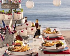 "Setting the perfect summer table.....The Enchanted Home. Love, love the boat shaped PB ""bowls"""