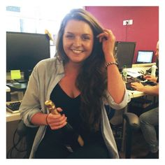 Our lovely Digital Marketing Assistant, Rachel, celebrating one year at #TeamProdo with some bubbly!