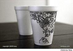 Arte em copos de isopor