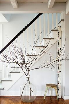 Love the gray stairs, white walls, medium wood floors and black banister.