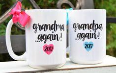 New GRANDMA or GRANDPA AGAIN Mugs Est. Year & by BabyCakeLane