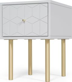 Hedra Bedside Table, Grey and Brass from Made.com. Grey/Brass. Express delivery. Designed in-house by our ultra-talented Made Studio, our Hedra beds..