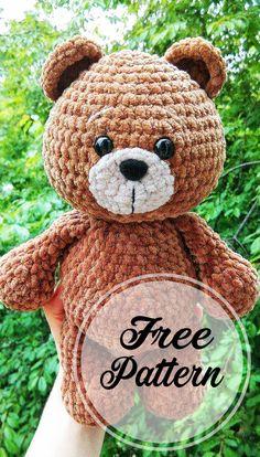 Crochet Teddy Bear Pattern, Crochet Amigurumi Free Patterns, Crochet Animal Patterns, Crochet Bear, Stuffed Animal Patterns, Amigurumi Minta, Chat Crochet, Crochet Dolls, Free Crochet