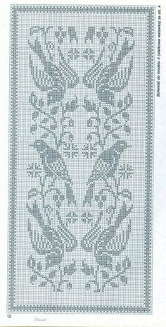 filet crochet Kira scheme crochet: Scheme crochet no. Crochet Curtain Pattern, Crochet Tablecloth Pattern, Crochet Curtains, Crochet Motif, Filet Pattern Crochet, Cross Stitch Bird, Beaded Cross Stitch, Cross Stitch Designs, Cross Stitch Embroidery