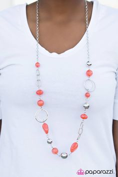 Tinted in an orange hue, vibrant stone and glassy orange beading trickles along a silver chain. Shimmery silver accents are added to the feminine design, including thick silver links, glittery hoops, and oversized silver beading. Features an adjustable clasp closure.    Sold as one individual necklace. Includes one pair of matching earrings.