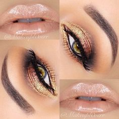 Nudes lips and shimmer gold eye shadow!!!