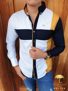 Outfit para hombre; camisa manga larga slim fit blanca con franja y manga marino, pantalón de mezclilla, reloj zankora | Hecho en México por Moon & Rain y Tiendas Platino
