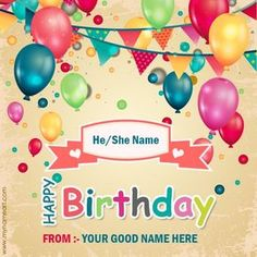 Create Decorated Birthday Cards Online Free Write Your Name On Beautifully Balloons Card