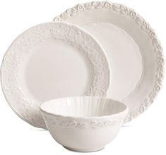 Gibson Madeira White Dinnerware Set, Service for 4 Shabby Chic Sofa, Simply Shabby Chic, Shades Of White, Dinnerware, Table Settings, Plates, Tableware, Wood, Dinner Ware
