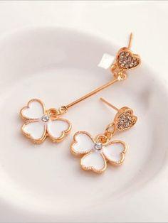 White Asymmetric Earrings | Only on angelicfashion.wooplr.com | Best Earrings Online