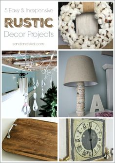 Easy and Inexpensive Rustic Decor Projects # DIY Home Decor inexpensive Easy and Inexpensive Rustic Decor Projects - Sand and Sisal Cheap Rustic Decor, Inexpensive Home Decor, Diy Home Decor On A Budget, Diy Home Decor Projects, Easy Home Decor, Cheap Home Decor, Decor Ideas, Rustic Crafts, Craft Ideas