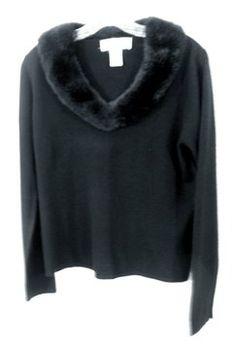 a0a2579826048 Norton McNaughton Faux Fur Collar Long Sleeve Sweater Faux Fur Collar