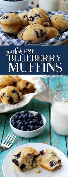 Recipe: Quick and Easy Blueberry Muffins Rezept: Schnelle und einfache Blaubeermuffins Mini Blueberry Muffins, Chocolate Chip Muffins, Blueberries Muffins, Blueberry Ideas, Blueberry Cake, Mini Muffins, Recipe For Muffins, Recipes With Frozen Blueberries, Dessert Oreo