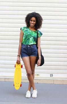 #shorts #denimshorts #afrohair #fashion #mode #moda #women #paris #look #streetstyle #streetview #street #style #offcatwalk on #sophiemhabille