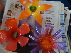 Recycled plastic bottle flowers. My students love this assignment and beg to do it again.
