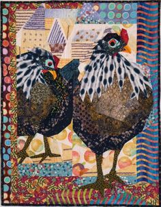 """Two Hens on an Urban Outing - By amazing quilt artist, Ruth McDowell. This is not raw edge applique - she pieces it all """"right sides together,"""" the traditional way!!"""