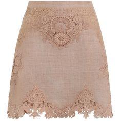 ZIMMERMANN Bowerbird Applique Skirt (825 BRL) ❤ liked on Polyvore featuring skirts, bottoms, zimmermann, zipper skirt, brown lace skirt, textured skirt, brown skirt and knee length a line skirt