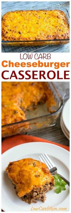Need a simple ground beef casserole to feed your family or friends? They will love this easy low carb bacon cheeseburger casserole. | LowCarbYum.com via @lowcarbyum