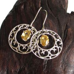 Beautiful Natural Citrine Earrings with 925 by sandcastlejewels, $46.00