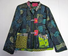 Embroidered embellished Upcycled Black Green Teal by monapaints, $175.00
