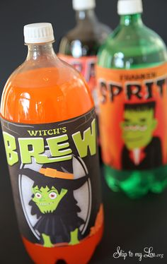 Free printable 2 liter bottle labels for Halloween: Witches Brew #print #halloween skiptomylou.org