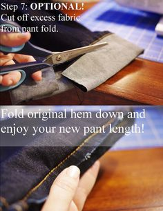 A Little Knick Knack: How to Hem Pants with the Original Hem--I actually did this today and it works! Just stay as close as you possibly can to the original stitching! Yarn Crafts, Sewing Crafts, Sewing Projects, The Knick, Sewing Hacks, Sewing Tips, Sewing Ideas, Sewing Basics, How To Hem Pants