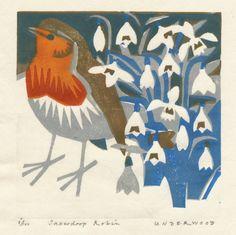 Snowdrop Robin, Woodblock print, by Matt Underwood