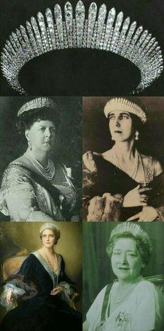 Tiara Fringe:G.D Maria Alexandrovna de Rusia. Duquesa de Edinburgo y Sajonia Coburgo Gotha,Beatriz de Edinburgo.Duquesa de Galliera,Maria de Edinburgo.Reina de Rumamia & Maria de Rumania.Reina de Yugoslavia