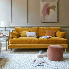 Gold Couch, Yellow Couch, Yellow Living Room Sofas, Mustard Living Rooms, Upholstered Sofa, Chaise Sofa, Loaf Sofa Bed, Mustard Sofa, Comfy Sofa