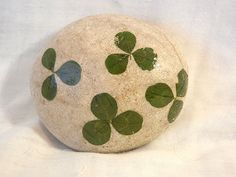 Clover and Beach Rock Paperweight by CatchMeStudio on Etsy, $5.00