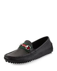 Damo Leather Horsebit Driver, Black by Gucci at Neiman Marcus.