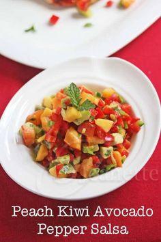 Peach Kiwi Avocado Pepper Salsa © Jeanette's Healthy Living
