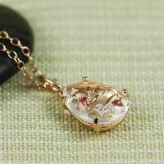 Handmade Pink Gold Oval White Quartz, Ruby & White CZ Necklace
