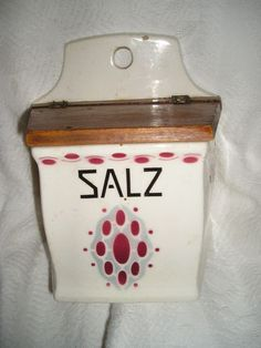 Vintage GERMAN Porcelain Wooden Lid SALT BOX Wall Mount SALZ  Cottage Chic