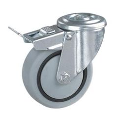 Rueda con agujero pasante  Materiales de las ruedas: núcleo de PP con la rueda de TPR  Tamaño: 80 x 32 mm; 100 x 34 mm; 125 x 37 mm; 160 x 40 mm; 200 x 50 mm  Capacidad de carga: 70kg-150kg  Tipo de rodamiento: rodamiento de rodillos  Tipo Opcional: Rígido, placa giratoria, roscado, orificio del tornillo