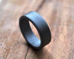 Chunky Men's Oxidized Wedding Band. Oxidised Ring. by Epheriell, $143.00