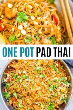 Pad Thai is a one-pot dish made with flat rice noodles, chicken or shrimp, bean sprouts, and a sweet-savory sauce. It's healthy and easy to make! #RealHousemoms #padthai #onepot #shrimp