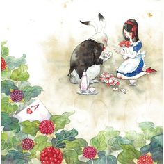 By 小倉マユコ (Mayuko Ogura).  Alice and the White Rabbit. :D  Are they playing it . . . whatever it is . . . right?