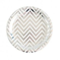 Silver Foil Chevron Large Party Plate - Bickiboo Party Supplies  sc 1 st  Pinterest : black and white chevron paper plates - pezcame.com