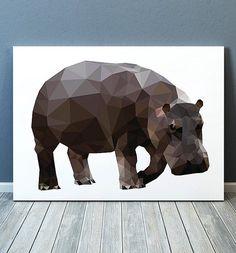 Hippo art Wildlife print Geometric print Animal poster TOA232