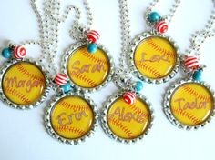 PERSONALIZED SOFTBALL NECKLACE, perfect gift for softball team, softball player, softball fan, birthday, christmas, yellow, (Listing 28). $7.99, via Etsy. @sanyacouts