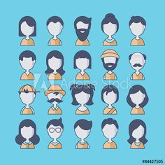 People avatar flat thin line icons for app and web design