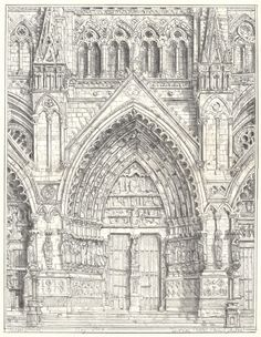 233. Drawing Amiens Cathedral, Richard Britell  May, 2012, (a)